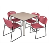 "Kee 48"" Square Breakroom Table- Beige/ Chrome & 4 Zeng Stack Chairs- Burgundy"