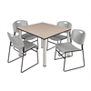 "Kee 48"" Square Breakroom Table- Beige/ Chrome & 4 Zeng Stack Chairs- Grey"
