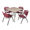 "Kee 48"" Square Breakroom Table- Beige/ Chrome & 4 'M' Stack Chairs- Burgundy"