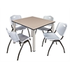 "Kee 48"" Square Breakroom Table- Beige/ Chrome & 4 'M' Stack Chairs- Grey"