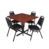 "Cain 48"" Square Breakroom Table- Cherry & 4 Restaurant Stack Chairs- Black"