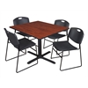 "Cain 48"" Square Breakroom Table- Cherry & 4 Zeng Stack Chairs- Black"