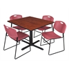 "Cain 48"" Square Breakroom Table- Cherry & 4 Zeng Stack Chairs- Burgundy"