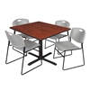 "Cain 48"" Square Breakroom Table- Cherry & 4 Zeng Stack Chairs- Grey"
