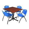 "Cain 48"" Square Breakroom Table- Cherry & 4 'M' Stack Chairs- Blue"
