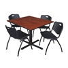 "Cain 48"" Square Breakroom Table- Cherry & 4 'M' Stack Chairs- Black"
