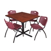 "Cain 48"" Square Breakroom Table- Cherry & 4 'M' Stack Chairs- Burgundy"