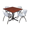 "Cain 48"" Square Breakroom Table- Cherry & 4 'M' Stack Chairs- Grey"