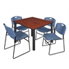 "Kee 48"" Square Breakroom Table- Cherry/ Black & 4 Zeng Stack Chairs- Blue"