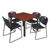 "Kee 48"" Square Breakroom Table- Cherry/ Black & 4 Zeng Stack Chairs- Black"