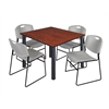 "Kee 48"" Square Breakroom Table- Cherry/ Black & 4 Zeng Stack Chairs- Grey"