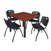 "Kee 48"" Square Breakroom Table- Cherry/ Black & 4 'M' Stack Chairs- Black"