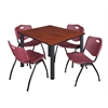 "Kee 48"" Square Breakroom Table- Cherry/ Black & 4 'M' Stack Chairs- Burgundy"