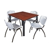 "Kee 48"" Square Breakroom Table- Cherry/ Black & 4 'M' Stack Chairs- Grey"