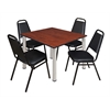 "Kee 48"" Square Breakroom Table- Cherry/ Chrome & 4 Restaurant Stack Chairs- Black"