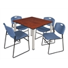 "Kee 48"" Square Breakroom Table- Cherry/ Chrome & 4 Zeng Stack Chairs- Blue"