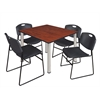 "Kee 48"" Square Breakroom Table- Cherry/ Chrome & 4 Zeng Stack Chairs- Black"
