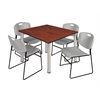 "Kee 48"" Square Breakroom Table- Cherry/ Chrome & 4 Zeng Stack Chairs- Grey"