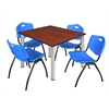 "Kee 48"" Square Breakroom Table- Cherry/ Chrome & 4 'M' Stack Chairs- Blue"