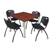 "Kee 48"" Square Breakroom Table- Cherry/ Chrome & 4 'M' Stack Chairs- Black"