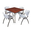 "Kee 48"" Square Breakroom Table- Cherry/ Chrome & 4 'M' Stack Chairs- Grey"