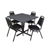 "Cain 48"" Square Breakroom Table- Grey & 4 Restaurant Stack Chairs- Black"