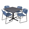 "Cain 48"" Square Breakroom Table- Grey & 4 Zeng Stack Chairs- Blue"