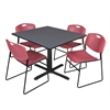 "Cain 48"" Square Breakroom Table- Grey & 4 Zeng Stack Chairs- Burgundy"