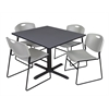 "Cain 48"" Square Breakroom Table- Grey & 4 Zeng Stack Chairs- Grey"