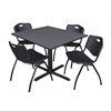 "Cain 48"" Square Breakroom Table- Grey & 4 'M' Stack Chairs- Black"