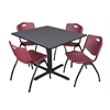 """Cain 48"""" Square Breakroom Table- Grey & 4 'M' Stack Chairs- Burgundy"""