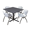 """Cain 48"""" Square Breakroom Table- Grey & 4 'M' Stack Chairs- Grey"""