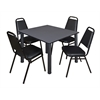 "Kee 48"" Square Breakroom Table- Grey/ Black & 4 Restaurant Stack Chairs- Black"