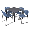 """Kee 48"""" Square Breakroom Table- Grey/ Black & 4 Zeng Stack Chairs- Blue"""