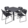 "Kee 48"" Square Breakroom Table- Grey/ Black & 4 Zeng Stack Chairs- Black"