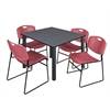 "Kee 48"" Square Breakroom Table- Grey/ Black & 4 Zeng Stack Chairs- Burgundy"