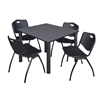 "Kee 48"" Square Breakroom Table- Grey/ Black & 4 'M' Stack Chairs- Black"