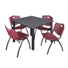 "Kee 48"" Square Breakroom Table- Grey/ Black & 4 'M' Stack Chairs- Burgundy"
