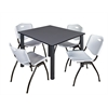 "Kee 48"" Square Breakroom Table- Grey/ Black & 4 'M' Stack Chairs- Grey"