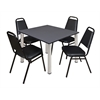"Kee 48"" Square Breakroom Table- Grey/ Chrome & 4 Restaurant Stack Chairs- Black"