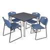 """Kee 48"""" Square Breakroom Table- Grey/ Chrome & 4 Zeng Stack Chairs- Blue"""