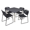 "Kee 48"" Square Breakroom Table- Grey/ Chrome & 4 Zeng Stack Chairs- Black"