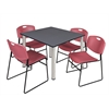"Kee 48"" Square Breakroom Table- Grey/ Chrome & 4 Zeng Stack Chairs- Burgundy"