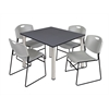 "Kee 48"" Square Breakroom Table- Grey/ Chrome & 4 Zeng Stack Chairs- Grey"