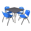 "Kee 48"" Square Breakroom Table- Grey/ Chrome & 4 'M' Stack Chairs- Blue"