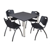 "Kee 48"" Square Breakroom Table- Grey/ Chrome & 4 'M' Stack Chairs- Black"