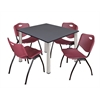 "Kee 48"" Square Breakroom Table- Grey/ Chrome & 4 'M' Stack Chairs- Burgundy"