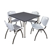"Kee 48"" Square Breakroom Table- Grey/ Chrome & 4 'M' Stack Chairs- Grey"