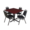 "Cain 48"" Square Breakroom Table- Mahogany & 4 Restaurant Stack Chairs- Black"