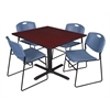 "Cain 48"" Square Breakroom Table- Mahogany & 4 Zeng Stack Chairs- Blue"